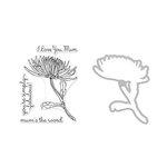 Hero Arts - Die and Clear Acrylic Stamp Set - Hero Florals - Mum Stem