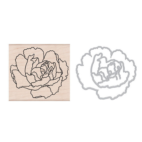 Hero Arts - Die and Wood Mounted Stamp Set - Artistic Peony Die Combo