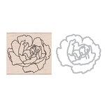 Hero Arts - Die and Wood Mounted Stamp Set - Artistic Peony Die Combo