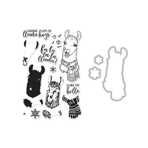 Hero Arts- Season of Wonder Collection - Christmas - Die and Clear Photopolymer Stamp Set - Color Layering Fa La Llama