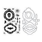 Hero Arts- Season of Wonder Collection - Die and Clear Photopolymer Stamp Set - Halloween Mirror