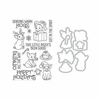 Hero Arts- Season of Wonder Collection - Christmas - Die and Clear Photopolymer Stamp Set - Sending Warm Hogs