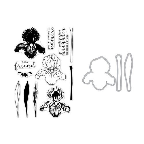Hero Arts - Die and Clear Photopolymer Stamp Set - Color Layering Iris