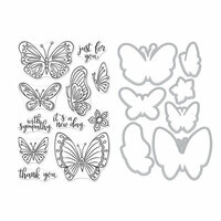 Hero Arts - Die and Clear Photopolymer Stamp Set - New Day Butterflies