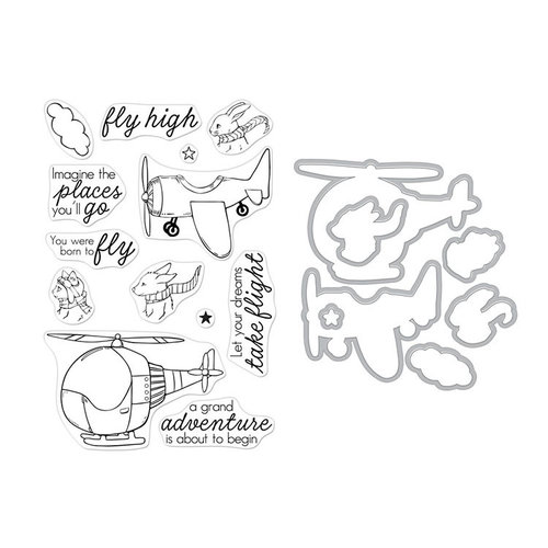 Hero Arts - Die and Clear Photopolymer Stamp Set - Fly High Animals