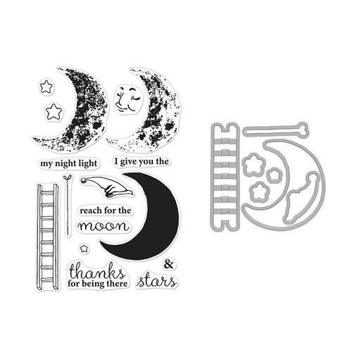 Hero Arts - Die and Clear Photopolymer Stamp Set - Color Layering Sleepy Moon