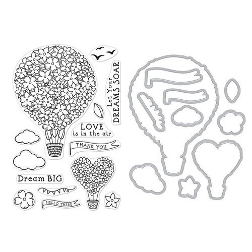Hero Arts - Die and Clear Photopolymer Stamp Set - Hot Air Blooms