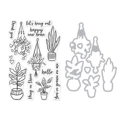 Hero Arts - Die and Clear Photopolymer Stamp Set - Hang In There Potted Plants