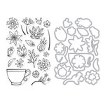 Hero Arts - Die and Clear Photopolymer Stamp Set - Teacup Flowers