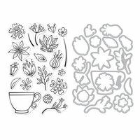 Hero Arts - Die and Clear Photopolymer Stamp Set - Teacup Flowers