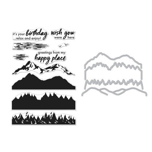 Hero Arts - Die and Clear Photopolymer Stamp Set - Color Layering Mountains at the Lake