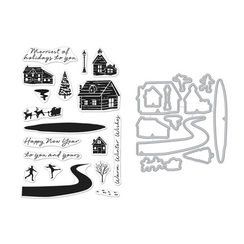 Hero Arts - Die and Clear Photopolymer Stamp Set - Snowy Town