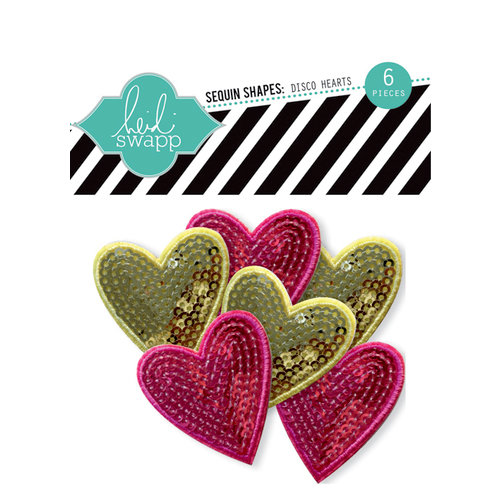 Heidi Swapp - Sugar Chic Collection - Sequins Shapes - Disco Hearts
