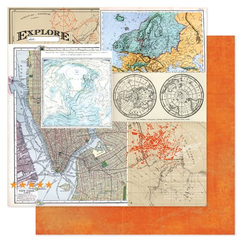 Heidi Swapp - No Limits Collection - 12 x 12 Double Sided Paper - Destinations