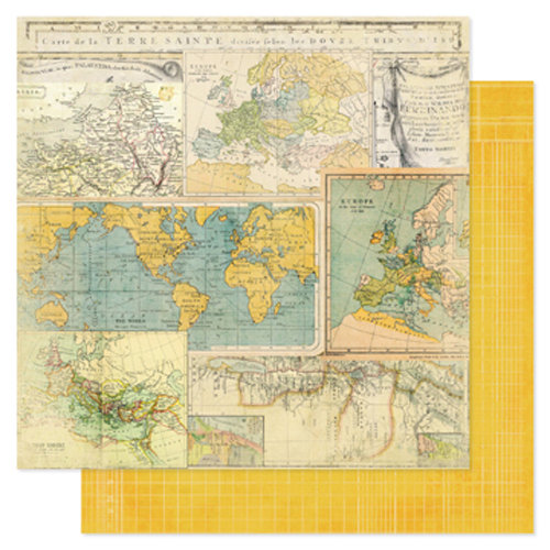 Heidi Swapp - Vintage Chic Collection - 12 x 12 Double Sided Paper - Worldwide