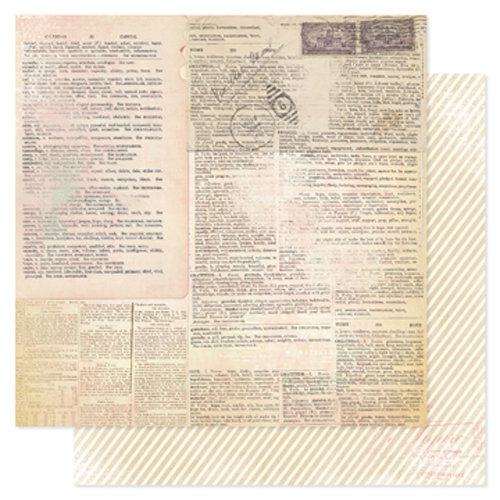 Heidi Swapp - Vintage Chic Collection - 12 x 12 Double Sided Paper - Textbook