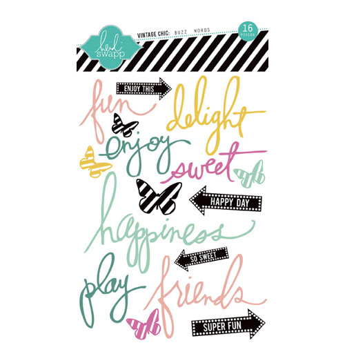 Heidi Swapp - Vintage Chic Collection - Epoxy Stickers - Buzz Words