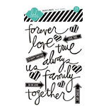 Heidi Swapp - Vintage Chic Collection - Epoxy Stickers - Buzz Words - Black and White