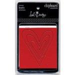 Heidi Swapp - Chipboard Ornaments - Hearts - Crimson White and Raw