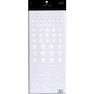 Heidi Swapp - Fuzzy Rub Ons - Stars - White, CLEARANCE