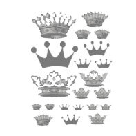 Heidi Swapp - Metallic Rub-Ons - Crowns - Silver