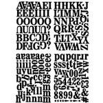 Heidi Swapp - Chipboard Alphabet - Newsprint - Glossy Jet, CLEARANCE