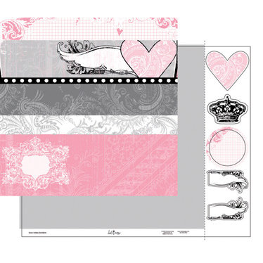 Heidi Swapp - Love Notes Collection - 12 x 15 Double Sided Paper with Die Cuts - Borders, CLEARANCE