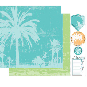 Heidi Swapp - Summer Sun Collection - 12 x 15 Double Sided Paper with Die Cuts - Summer Palms, CLEARANCE