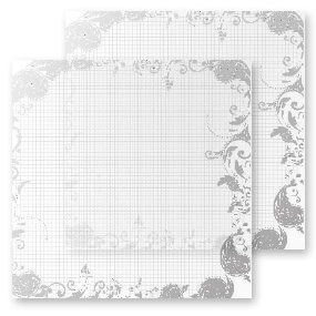 Heidi Swapp - Invisibles Collection - 12 x 12 Inkable Chipboard Sheets - Lovely Grid - 2 Sheets, CLEARANCE