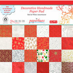 Paperhues - Decorative Handmade Paper Pack - 12 x 12 - Red and White - 24 Pack