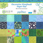 Paperhues - Decorative Handmade Paper Pack - 12 x 12 - Blue and Green - 24 Pack