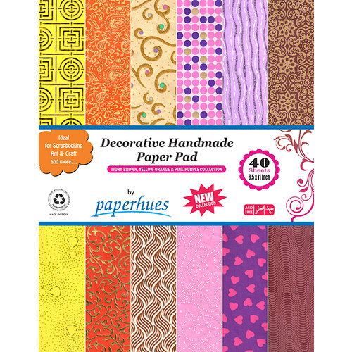 Hilltop Paper LLC - Decorative Handmade Paper Pack - 8.5 x 11 - Ivory-Brown, Yellow-Orange, Pink-Purple - 40 Pack