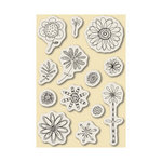 Inkadinkado - Repositionable Rubber Stamps - Large - Fanciful Flowers, CLEARANCE
