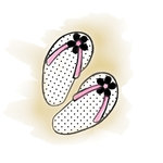 Imaginisce - A Shore Thing Collection - Clear Acrylic Stamps - Flip Flops