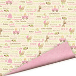 Imaginisce - Baby Powder Collection - 12x12 Double Sided Paper - Cutie Patootie - Baby Girl