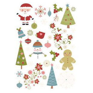 Imaginisce - Snowy Jo Winter Christmas Collection - Rub Ons - Holidoodles, CLEARANCE