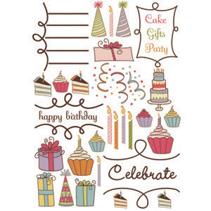 Imaginisce - All Kinds of Happy Collection - Rub Ons - My Little Cupcake- Birthday