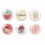 Imaginisce - All Kinds of Happy Collection - Epoxy Brads - Sweet Treats- Birthday