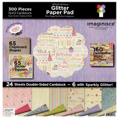 Imaginisce - All Kinds of Happy - Glitter Paper Pad