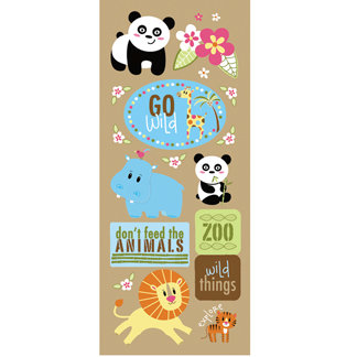 Imaginisce - Wild Things Collection - Glossy Chipboard Stickers - Go Wild, CLEARANCE