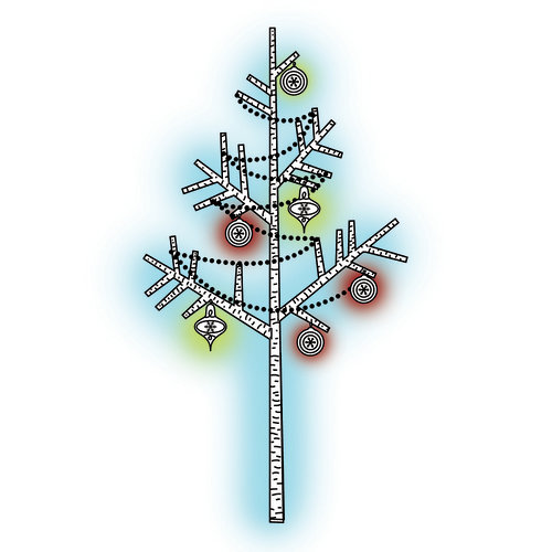 Imaginisce - Polar Expressions Christmas Collection - Snag 'em Acrylic Stamps - Tree