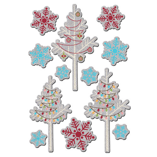 Imaginisce - Polar Expressions Christmas Collection - Foil Stickers - Tinsel Trims