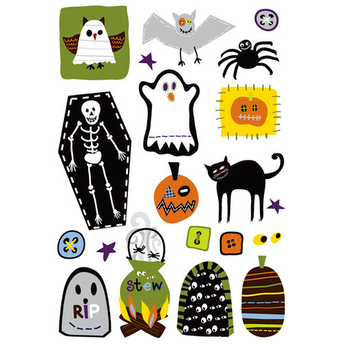 Imaginisce - Spooky Town Halloween Collection - Rub Ons - Boo Hooligans , CLEARANCE
