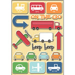 Imaginisce - Let's Roll Collection - 3 Dimensional Epoxy Glass Stickers - Way to Go, BRAND NEW