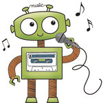 Imaginisce - Live Loud Collection - Snag 'em Acrylic Stamps - Robot Singing, CLEARANCE