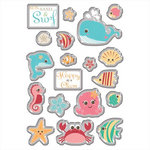 Imaginisce - Splash Dance Collection - 3 Dimensional Epoxy Glass Stickers - Beach Babes, CLEARANCE