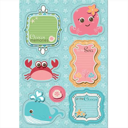 Imaginisce - Splash Dance Collection - Sticker Stackers - 3 Dimensional Stickers - Coral and Crew, CLEARANCE