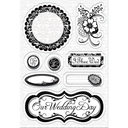 Imaginisce - To Love and Cherish Collection - Sticker Stackers - 3 Dimensional Stickers - I Do