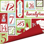 Imaginisce - Cottage Christmas Collection - 12 x 12 Double Sided Paper with Glossy Accents - Christmas Countdown, CLEARANCE
