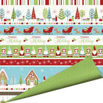 Imaginisce - Cottage Christmas Collection - 12 x 12 Double Sided Paper with Glossy Accents - Gingerbread Village, CLEARANCE